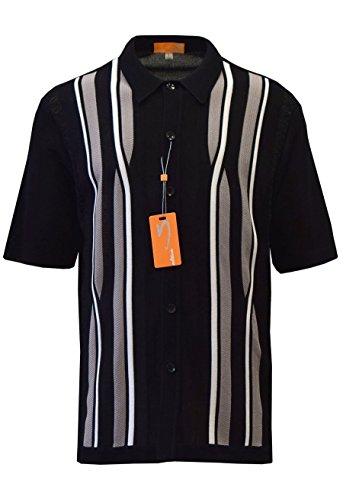 Edition S Men's Short Sleeve Knit Shirt - California Rockabilly Style: Multi Stripes (Large, -