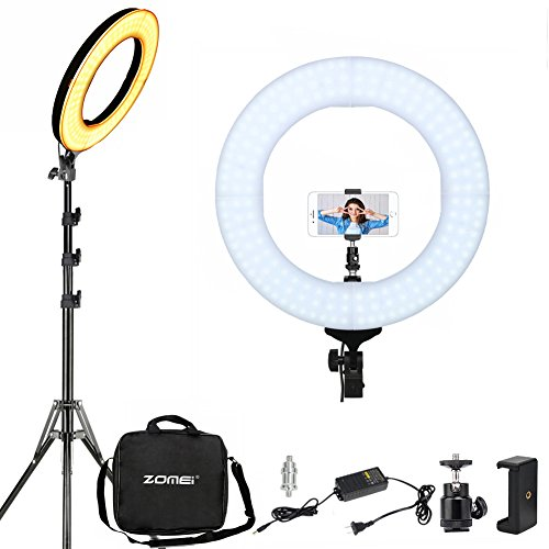 ZOMEI 14'' LED Ring Light with Stand Dimmable Makeup Light Photography Lights Video Youtube Lighting Professional Studio Photo Shoot Light Compatible With Camera Phone iPad Mirror, etc by ZoMei
