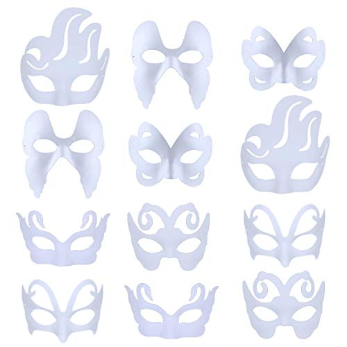 Diy Masque Halloween (Fansport 12Pcs Party Creative DIY Mask Blank Painting White Mask Costume Mask Masquerade)