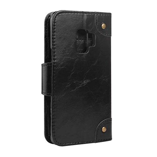 Galaxy S9móvil, cowx Teléfono Móvil para Samsung Galaxy S9Funda Piel Flip Case Carcasa para Samsung Galaxy S9Funda Cover 5tarjetas–Negro