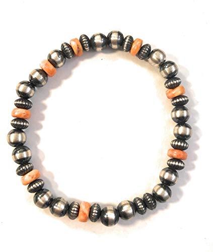 Nizhoni Traders LLC Navajo Sterling Silver Spiny Oyster Beaded Bracelet from Nizhoni Traders LLC