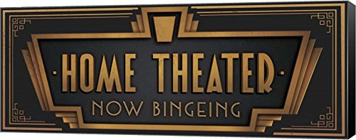 Home Theater by J.J. Brando Canvas Art Wall Picture, Museum Wrapped with Black Sides, 20 x 8 ()