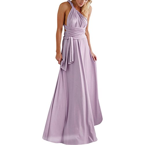 finity Multi Way Wrap Bandage Long Dress Convertible Bridesmaid Wedding Night Cocktail Ball Gown Lilac S ()