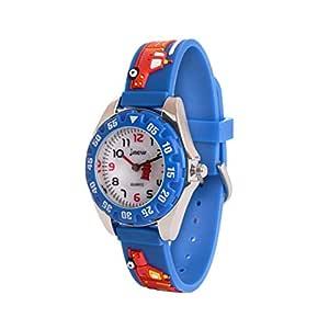 Wolfteeth Boys My First Outdoors Watch Time Teacher Sport Watch with Plastic Bezel Glass Dial Fire Engine Blue 308204