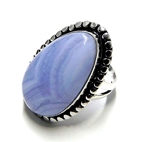 20.15 Carat Blue Lace Agate Jewelry 925 Sterling Silver Plated Ring US Size 7''