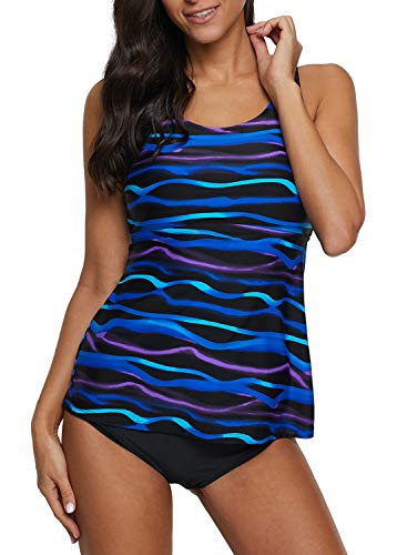 (EVALESS Womens 2pcs Tankinis Print Swimwear with Black Bikini Bottom Plus Size XX-Large Blue Racerback)