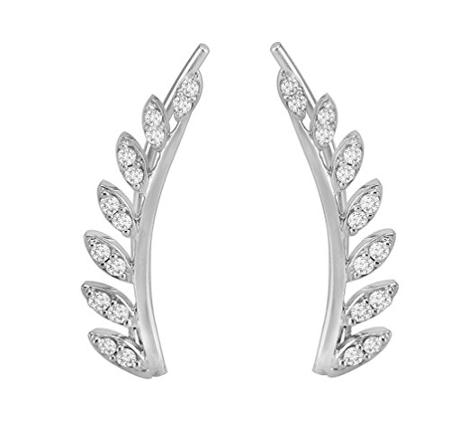1/3ct Round Diamond 10k White Gold Leaves Ear Climber (0.25 Ct Diamond Leaf)