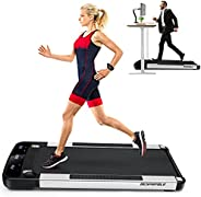 BESPORTBLE Under Desk 1. 5HP Low Noise Treadmill with Wide Walking Pad Smooth Moving Wheels Remote Controller