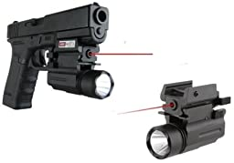 Ultimate Arms Gear New Gen. Tactical Compact QD LED Flashlight Light & Red Dot Laser Sight Combo For S&W Smith & Wesson 1911 M&P SD9 SD40 Pistol Gun With A Front Weaver Picatinny Rail