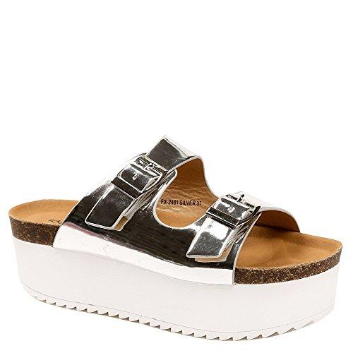 Ideal-Shoes Nu-con piedi Anahi Suola in gomma, Nero (nero), Fr 41