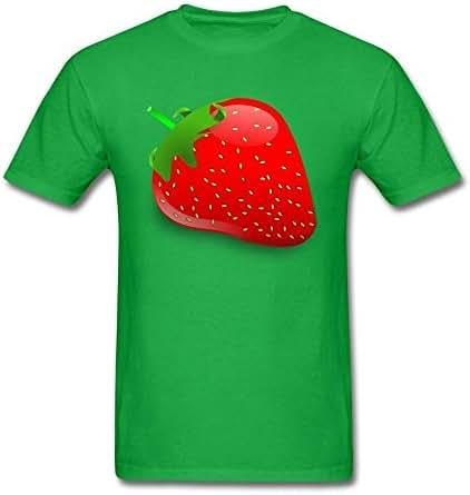 Husba Men's DIY Cartoon Fruit T-shirt Forest Green XL