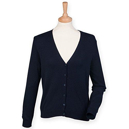 Henbury - Chaqueta / cárdigan con botones y cuello en V para mujer Azul marino