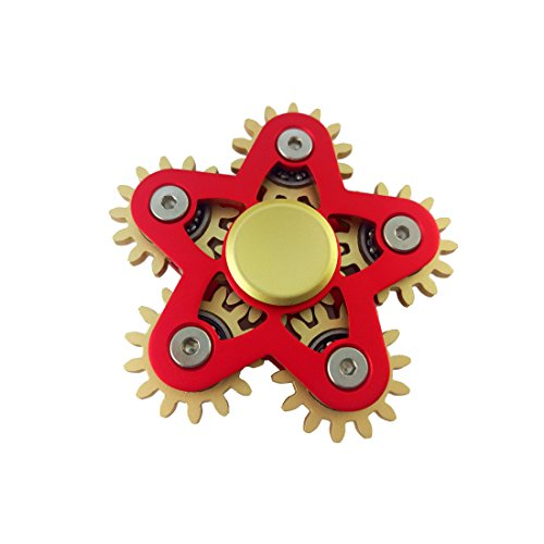VODA 6 Gear Metal Fidget Spinner,Luxury 6 Gear Linkage Spinner Toy,High Speed EDC Fidget Toy for Stress Relief, (Red)