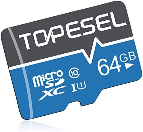 TOPESEL 64GB Micro SD Card SDHC Memory Cards UHS-I TF Card Class 10 for Cemera/Phone/Nintendo-Switch/Galaxy/Drone/Dash Cam/GOPRO/Tablet/PC/Computer(C10 U1 64GB)