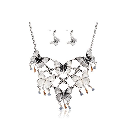 Ginasy Vintage Butterfly Statement Necklace and Earrings Set - Fashion Choker Jewelry Gift for Women Girls (Butterfly White) - Taylor Pendant Kit