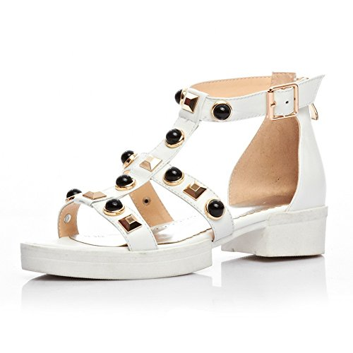 AllhqFashion Womens Round Open Toe Cow Leather Low Heels Solid Sandals with Changeable and Buttons White