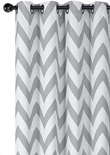 Regal Home Collections 2 Pack Designer Chic Chevron Room Darkening Energy Saving Thermal Grommet Top Curtain Panels with Bonus Tiebacks – Assorted Colors Sizes Gray, 63 in. Long Pair