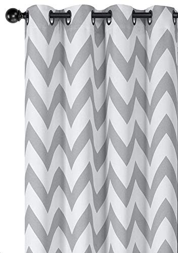 Regal Home Collections Designer Chic Chevron Room Darkening Energy Saving Thermal Grommet Top Curtain Panels With Bonus Tiebacks - Assorted Colors & Sizes (Gray, 84 in. Long Pair) ()