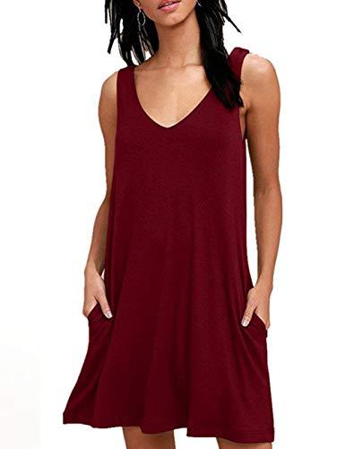 Bibowa Tshirt Dress for Women Midi Dress with Pockets Wine Red XL