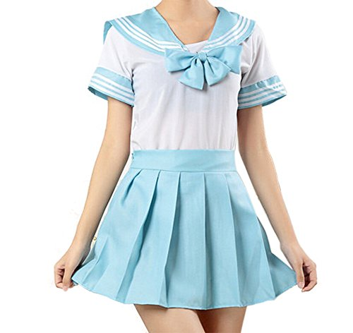 WenHong School Uniform Dress Cosplay Costume Japan Anime Girl Lady Lolita Blue -