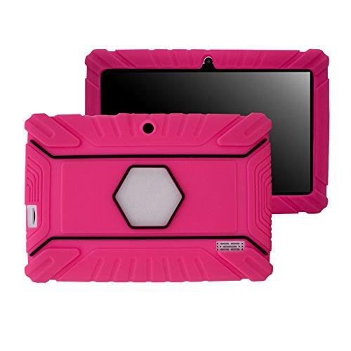 Transwon Anti Slip Kids Case for TOPELOTEK 7 Inch, Amiley 7, Alldaymall A88X, NeuTab N7 Pro, Tagital 7 T7X, Yuntab Q88, Yuntab Y88 7 Inch, Vuru A33, NPOLE N718, iRULU eXpro X3 Tablet-X37 - Magenta