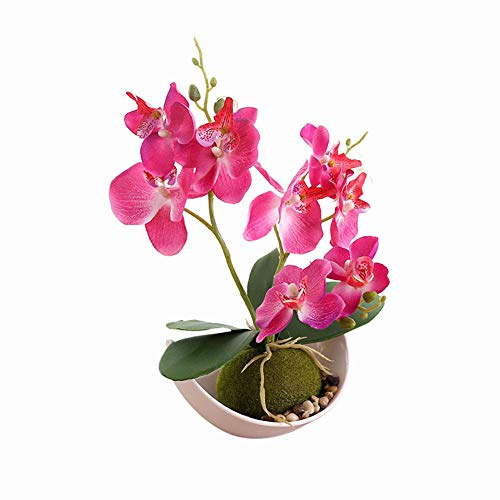 litymitzromq Artificial Flowers Outdoor Plants, Artificial Butterfly Orchid Bonsai Fake Flower with Trayfor for Home Indoor Garden Stage Office Wedding Restaurant Party Decoration Gift Rose Red
