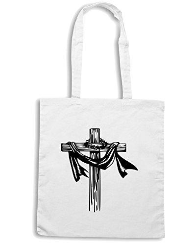 T-Shirtshock - Borsa Shopping FUN1004 christian cross decal 44 50532 Bianco