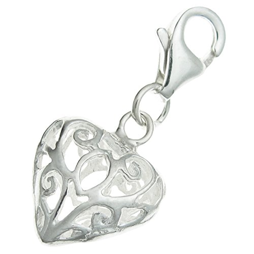 .925 Sterling Silver Heart Love Filigree Dangle Bead Clasp European Lobster Trigger Clip On (Filigree Clasp Bracelet)