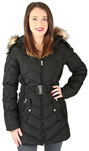 Belted Puffer - Jessica Simpson Women's Down Coat with Belt and Side Panel Details, Black, Large