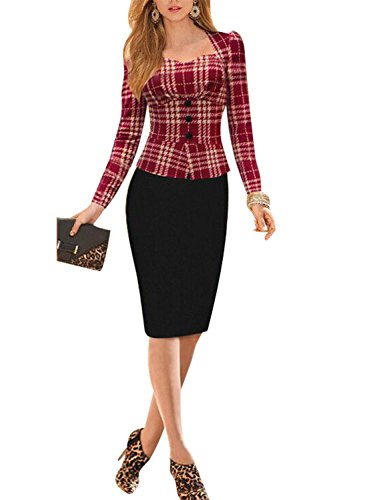 Viwenni Lady Sexy Bodycon Stretch Pencil Long Sleeve Ol Formal Party Dress (XX-Large, Red-Houndstooth)