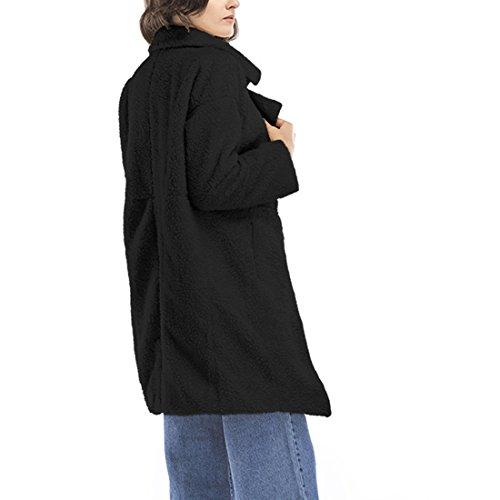 cce31f5ae8ae ... Damen Knopf Langärmelig Eifarbig Kaschmirwolle Midi- Mantel Mantel Tweed -Mantel Jacke Schwarz 2CbUJ ...