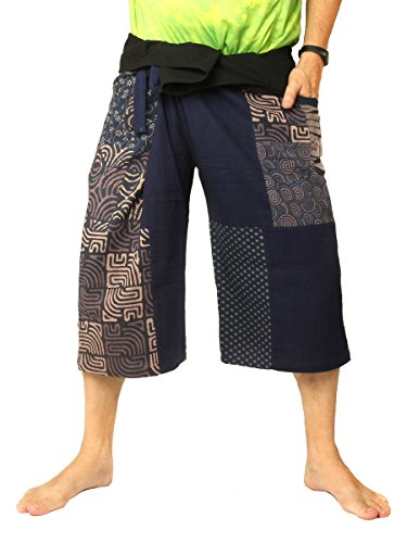 jing shop Men's Thai Fisherman Wrap Pants Short Patchwork Blue ()