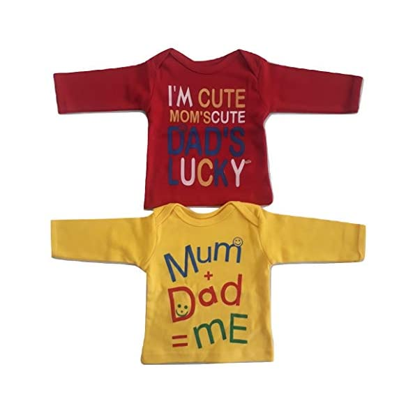 Hosiery Cotton Full Sleeves T-Shirts Red and Yellow for Girl and Boy (Pack of 2)