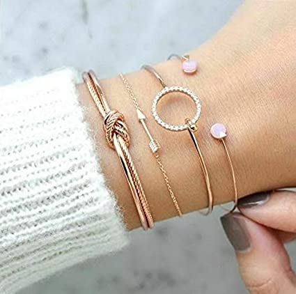 7aa35ad903f Amazon.com: Hemau Fashion Charm Women Stainless Steel Lots Style Cuff Open  Bracelet Bangle Chain | Model BRCLT - 112 | 4Pcs/Set Arrow Knot Gold: Arts,  ...