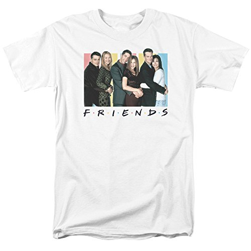 Cast Mens T-shirt - Friends Sitcom TV Series Cast Logo Officially Licensed Adult Men's T-Shirt White (Medium)