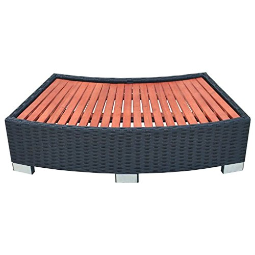 Festnight Pool Spa Step Poly Rattan Black 36.2'' x 17.7'' x 9.8'' by Festnight