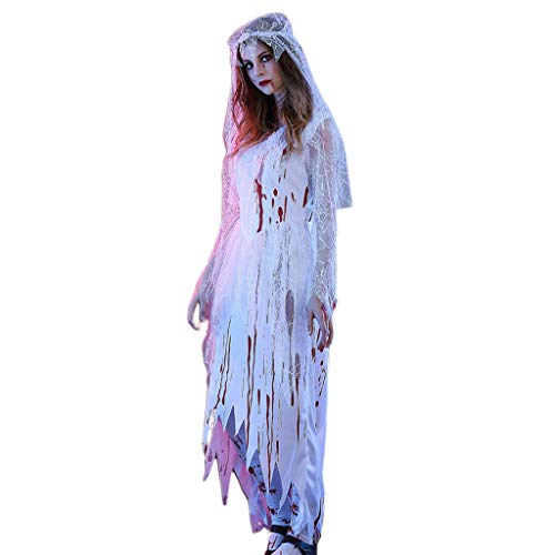 Zombie Celebrity Costume (shyln Womens Halloween Bride Ghost Zombie Bloody Cosplay Costumes Long Sleeves V-Neck Dress with Veil Stage Performance Party Props with 3)