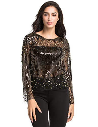 Blouse Embellished Bead (PrettyGuide Women's Sequin Blouse See Through Party Tops Beaded Sparkly Shirts L Gold)