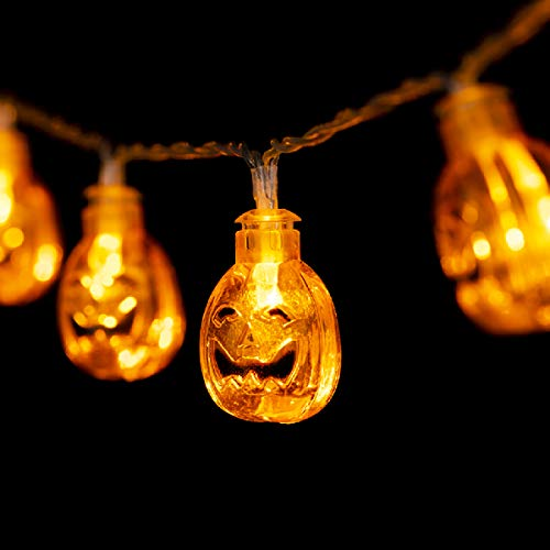GIGALUMI Halloween Pumpkin String Lights 20 LEDs 8.2ft Battery Operated Jack-O-Lantern Lights Halloween, Christmas, Party, -