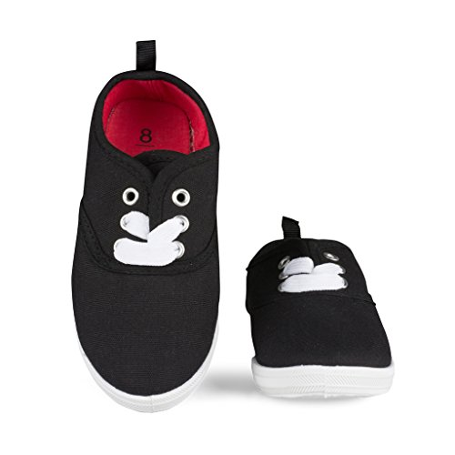 [[SBK201-BLACK-Y2] Unisex Canvas Sneakers: Lace-Up Tennis Shoes, Youth Size 2] (Black Kids Shoes)
