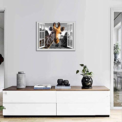 Giraffe Canvas Wall Art for Office Guest Room Wall Decor with Frame Animal Head from Open Window Bathroom Wall Decoration Prints Painting Black White Window View Landscape Wall Picture 12x16Inch