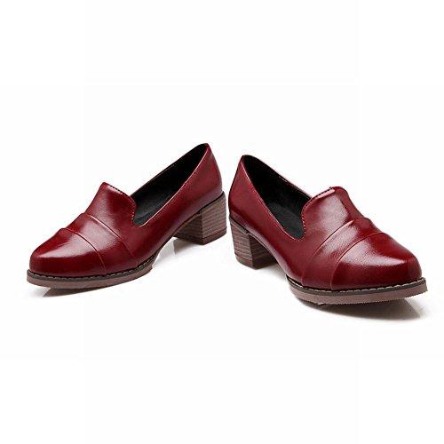 Carol Shoes Retro Womens British Style Cuff Fashion Middle Chunky Heel Uniform Dress Shoes Wine Red w3ntD