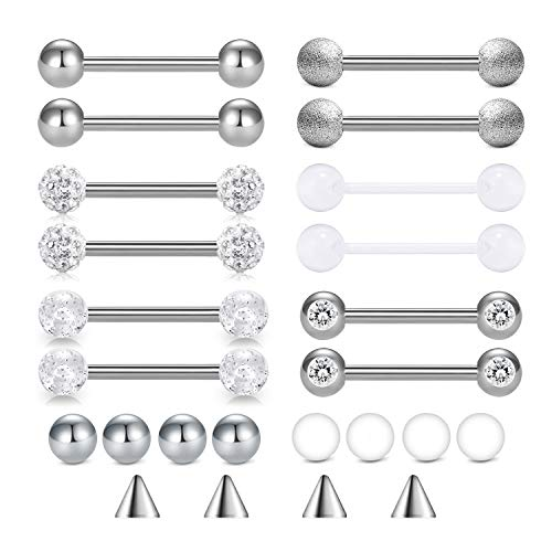 Incaton 14g 6 Pairs Tongue Rings Nipple Ring Surgical Steel Nipplerings Piercing Women 14mm Bar with Replacement Balls