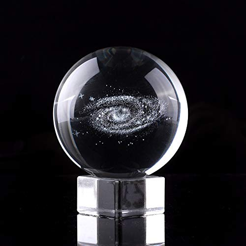 Engraved Paperweight - XinTX 2.3 Inch Galaxy Crystal Ball,3D Miniature Planets Laser Engraved Ball Paperweight Sphere Home Decor Gift with Clear Stand(Gift Box Package) (2.3 Inch, Galaxy Ball)