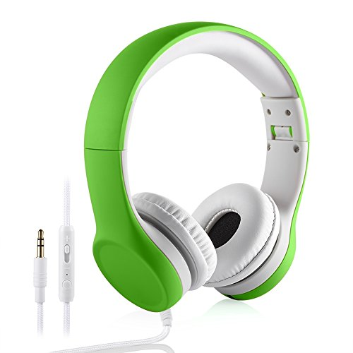 Kids Headphones Volume Limited , Over The Ear Foldable Headphones with Share Connector for Boys Girls Children (Green 2)