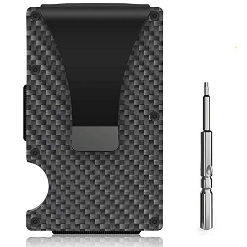 Carbon Fiber Wallet, Money Clip Wallet,Minimalist RFID Blocking Slim Metal Wallet for Men (Carbon)