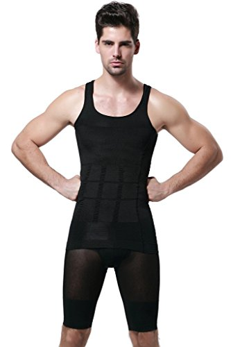 GKVK Mens Slimming Body Shaper Vest Shirt Abs Abdomen Slim,S(chest size76cm-81cm/30inches-32inches),Black