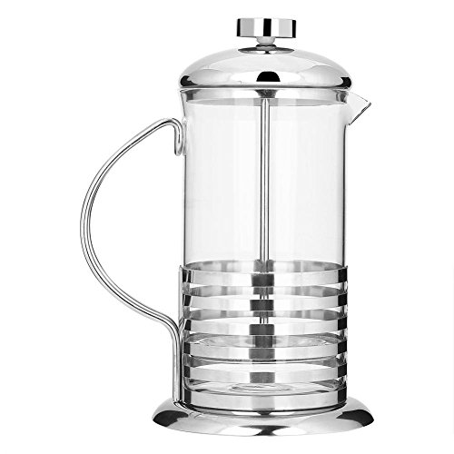French Press Coffee Pot, 600ml/800ml Vidrio portátil de acero inoxidable French Press Coffee Cup Pot Émbolo Tetera(600ml…