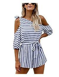 SUPEYA Summer Women Off Shoulder Striped Print Backless Casual Short Romper Jumpsuit