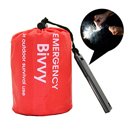 Outdoor Emergency Space Blanket Survival Sleeping Bag Therma Bivvy, Reusable Lightweight Waterproof Bivvy with Whistle and Fire Started, Aluminized PE Sleeping Bag for Camping, Hiking, Vehicle